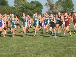 Members of the Pella girls varsity XC team running in a meet