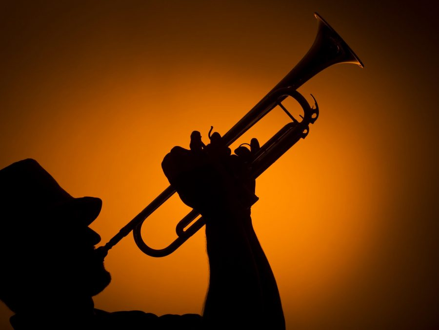 backlight+musician+playing+trumpet+on+orange+background