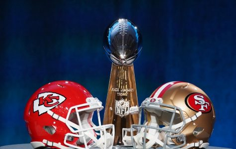 Jan 29, 2020; Miami, Florida, USA; Helmets for the Kansas City Chiefs and San Francisco 49ers are placed in front of the Vince Lombardi Trophy during a press conference before Super Bowl LIV at Hilton Downtown. Mandatory Credit: Kirby Lee-USA TODAY Sports ORG XMIT: USATSI-425024 ORIG FILE ID:  20200129_jla_al2_030.jpg