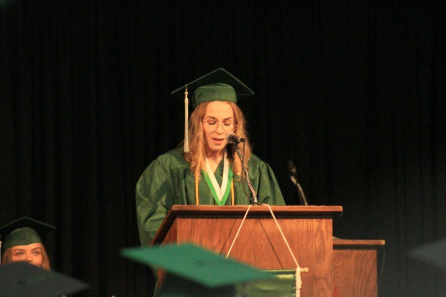 Hanna Kendall speaks at graduation.