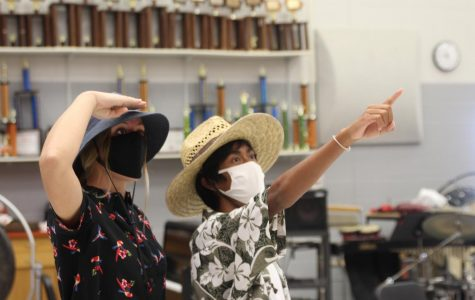 Junior Akira Lopez and Meridith Rowe dress up for Tacky Tourist Day.