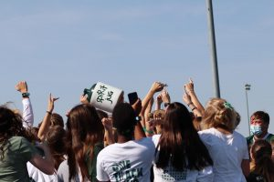 The seniors join together and celebrate their victory on winning the spirit jug.
